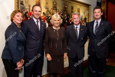 Camilla, Camilla Duchess of Cornwall accompanied (L-R) Di Lampard, Richard Waygood, Yogi Breisner and Dan Hughes