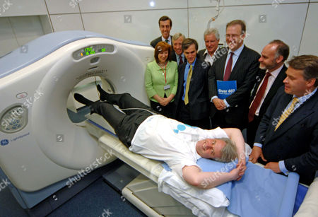 Shadow health ministers visit the Lifesyne Clinic to raise the profile of 'Help a Heart Week.' Andrew Lansley, the Shadow Secretary of State for Health is about to enter a Multi Slice CT scanner. L to R Baroness Morris, Andrew Selous, Earl How, Andrew Murrison, John Marples, John Baron, Crispin Blunt, Tim Loughton.