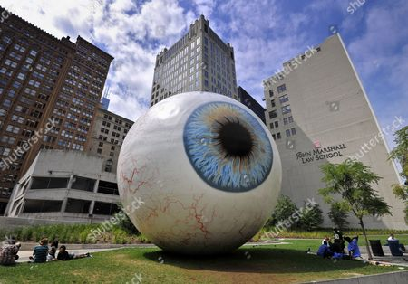 Sculpture, Eye, by Tony Tasset, Art Loop 2010, Pritzker Park, Chicago, Illinois, United States of America, USA