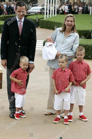 Princess Cristina, Inaki Urdangarin with baby Irene and their three sons Prince Miguel, Prince Pablo Nicolas, and Prince Juan Valentin