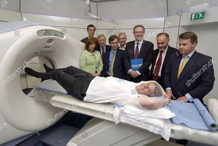 Andrew Lansley, Shadow Health Secretary having a CT scan of his heart as the shadow health team look on in background - Baroness Morris, Andrew Selous MP, Earl Howe, Andrew Murrison, John Maples, John Baron, Crispin Blunt and Tim Loughton