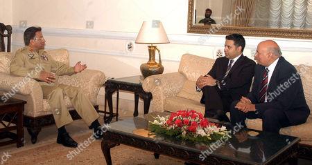 President General Pervez Musharraf with British members of parliament Shahid Malik and Muhammad Sarwar in Rawalpindi, Pakistan - 02 Jun 2005