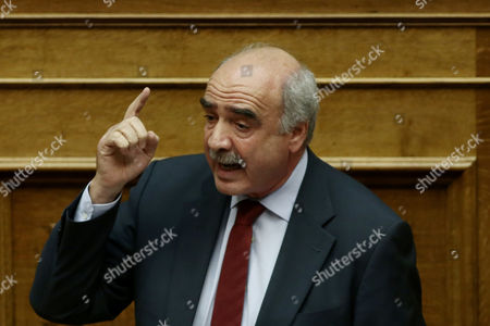 Opposition leader and president of the conservative party of New Democracy Vangelis Meimarakis delivers a speech