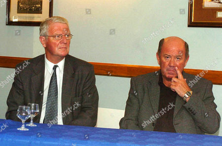 Pic Shows....Former Everton FC Legend Brian Labone, who died this morning (25-04-06). Pictured here recently at Everton Football gound Goodison with former Everton manager Howard Kendall (right)...See Copy © Mercury Press Agency Ltd. (MPA) This image is copyright. MPA Rate Card reproduction rates apply. Call 0151 236 6707 for details. Not for electronic publication on the internet or other similar formats without agreement on fee.  Electronic library storage and retrieval is authorised by publishers to whom the material has been supplied by the Copyright owner.