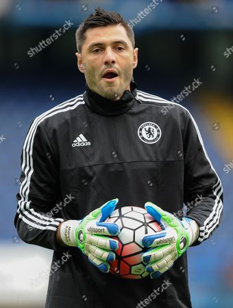 Stock Image of Chelsea Goalkeeper Marco Amelia warms-up during the Barclays Premier League match between Chelsea and Aston Villa played at Stamford Bridge, London on October 17th 2015
