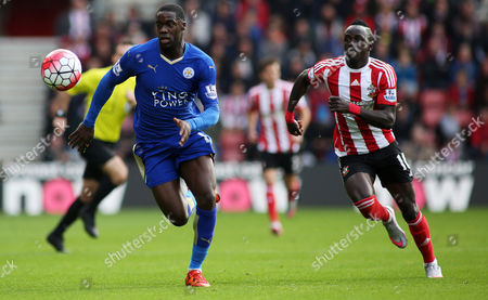 Jeffrey Schlupp and Sadio Mane during the Barclays Premier League match between Southampton and Leicester City played at St. Mary's Stadium, Southampton, on October 17th 2015