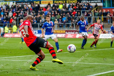 Exeter City Forward Clinton Morrison during the Sky Bet League 2 match between Carlisle United and Exeter City at Brunton Park, Carlisle
