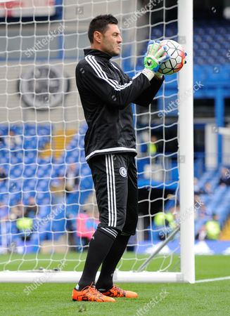 Stock Photo of Chelsea Goalkeeper Marco Amelia warms-up during the Barclays Premier League match between Chelsea and Aston Villa played at Stamford Bridge, London on October 17th 2015