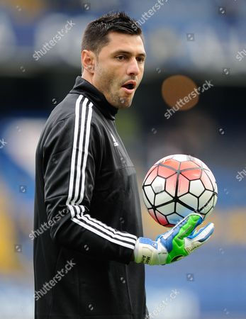 Stock Picture of Chelsea Goalkeeper Marco Amelia warms-up during the Barclays Premier League match between Chelsea and Aston Villa played at Stamford Bridge, London on October 17th 2015