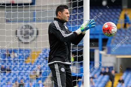 Chelsea Goalkeeper Marco Amelia warms-up during the Barclays Premier League match between Chelsea and Aston Villa played at Stamford Bridge, London on October 17th 2015