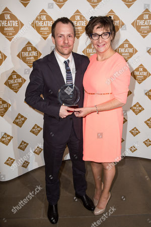 Nikolai Foster (left) of Curve Theatre joint won the Promotion of Diversity award, alongside Pauline McLynn who presented the award