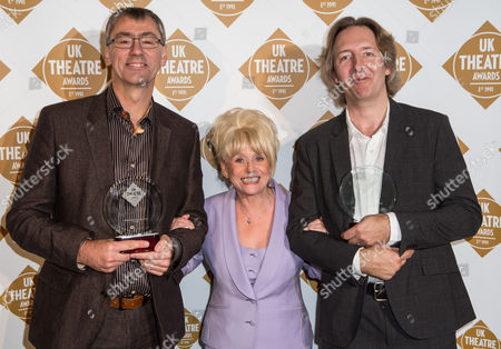 Executive Director of Chichester Festival Theatre Alan Finch collected the Best Musical Production award for 'Gypsy' and Jonathan Church (right) who collected the Best Performance in a Musical Award on behalf of Imelda Staunton, also for 'Gypsy' with Barbara Window (centre) who presented the awards.