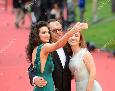 Stock Photo of Maria Debska, Zbigniew Domagalski, Gabriela Muskala selfie
