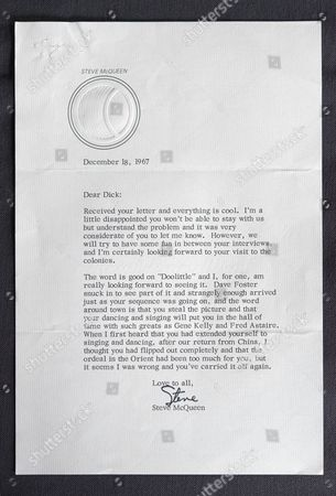 Letter from Steve McQueen