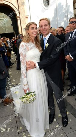 Editorial image of Milana Schoeller and Ludvig Andersson wedding, St Michael church, Munich, Germany - 17 Oct 2015