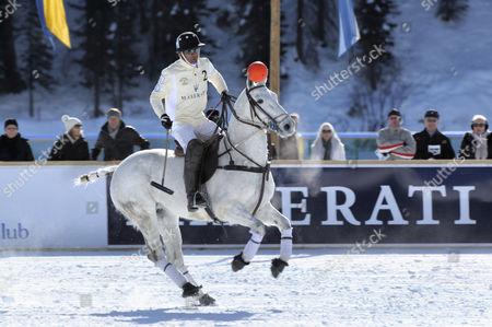 Jose Donoso, Team Maserati, on his white horse, 26. St. Moritz Polo World Cup on Snow, St. Moritz, Upper Engadin, Engadin, Grisons, Switzerland, Europe