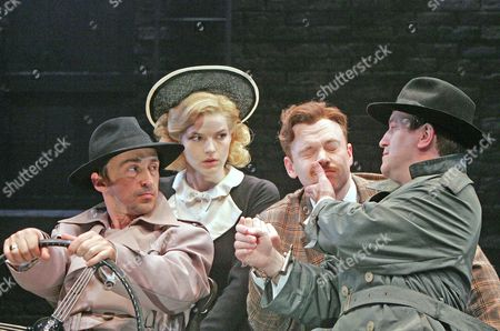 'The 39 Steps' at the West Yorkshire Playhouse - Simon Gregor (A Heavy), Lisa Jackson (Pamela), Robert Whitelock (Hannay) and Mark Hadfield (A Heavy)