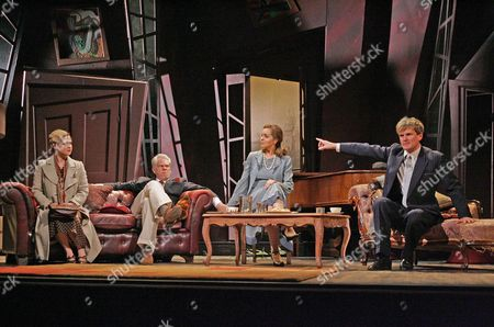 'Private Lives' at the Theatre Royal Bath - Olivia Darnley (Sibyl), Michael Siberry (Elyot), Greta Scacchi (Amanda) and Charles Edwards (Victor)