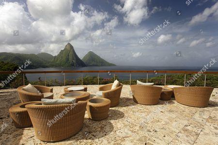 Roof terrace, Dedon, furniture, natural stone floor, hemisphere, Pitons mountains, Jade Mountain luxury hotel, Saint Lucia, Windward Islands, Lesser Antilles, Caribbean, Caribbean Sea