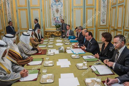 French President Francois Hollande receives Kuwait's Prime Minister Sheikh Jaber Al Mubarak Al Hamad Al Sabah for a meeting at the Elysee Palace