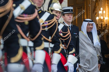 Kuwait's Prime Minister Sheikh Jaber Al Mubarak Al Hamad Al Sabah leaves after a meeting with French President Francois Hollande at the Elysee Palace