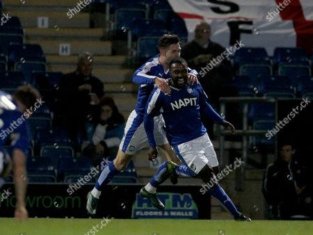 Chesterfield's Sylvan Ebanks-Blake (9) celebrates scoring Chesterfield's second goal