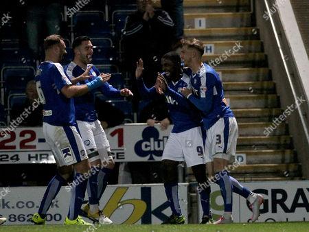 Chesterfield's Sylvan Ebanks-Blake (9) celebrates scoring Chesterfield's third goal, his second