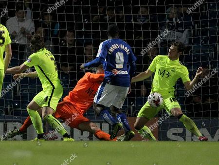Chesterfield's Sylvan Ebanks-Blake (9) scores Chesterfield's third goal, his second