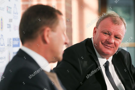 New Leeds manager Steve Evans is unveiled at a press conference with head of recruitment Martin Glover at Elland Road on October 19th 2015