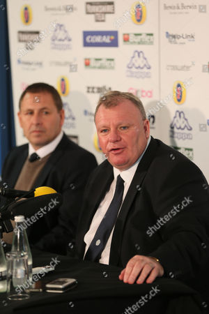 Stock Image of New Leeds manager Steve Evans is unveiled at a press conference with Martin Glover head of recruitment at Elland Road on October 19th 2015