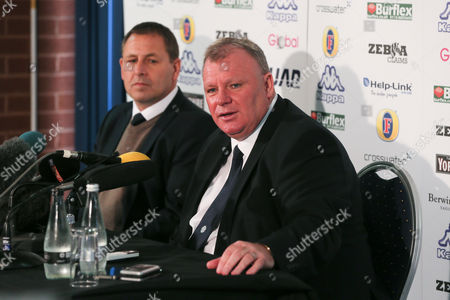 New Leeds manager Steve Evans is unveiled at a press conference with Martin Glover head of recruitment at Elland Road on October 19th 2015