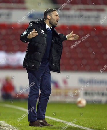 Oldham Athletic manager David Dunn gestures on the touchline during the Sky Bet League One match between Swindon Town and Oldham Athletic played at The County Ground, Swindon on October 20th 2015