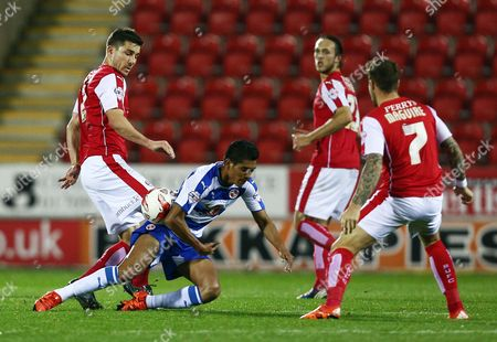 Lewis Buxton of Rotherham United and Paolo Hurtado of Reading during the Sky Bet Championship match between Rotherham United and Reading played at the AESSEAL New York Stadium, Rotherham on October 20th 2015