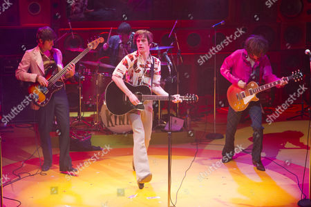 Tom Whitelock (Pete Quaife), Damien Walsh (Mick Avory), Danny Horn (Ray Davies) and Oliver Hoare (Dave Davies) during the curtain call