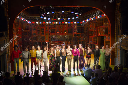 Tom Whitelock (Pete Quaife), Damien Walsh (Mick Avory), Danny Horn (Ray Davies), Oliver Hoare (Dave Davies) and members of the company during the curtain call