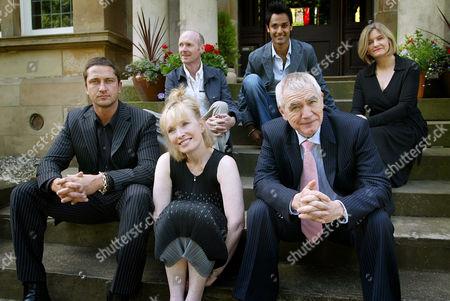 Stock Image of L - R: Gerard Butler, Paul Lafferty, Lindsay Duncan, Atta Yaqub, Brian Cox and Andrea Gibb