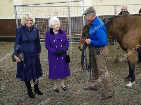 Camilla Duchess of Cornwall and Queen Elizabeth II with Monty Roberts