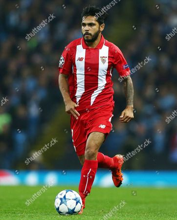 Benoit Tremoulinas of Sevilla during the UEFA Champions League Group D match between Manchester City and Sevilla played at the Etihad Stadium, Manchester on October 21st 2015