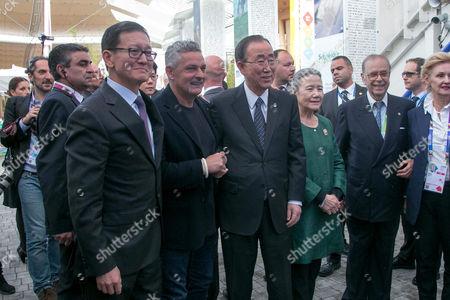 Roberto Baggio, Ban Ki-moon, Yoo Soon-taek and Paolo Fulci