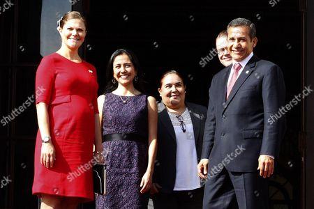 Stock Photo of Lima Peruvian President Ollanta Humala, his wife Nadine Heredia, Sweden's Crown Princess Victoria and Prince Daniel