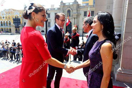 Stock Picture of Lima Peruvian President Ollanta Humala, his wife Nadine Heredia, Sweden's Crown Princess Victoria and Prince Daniel
