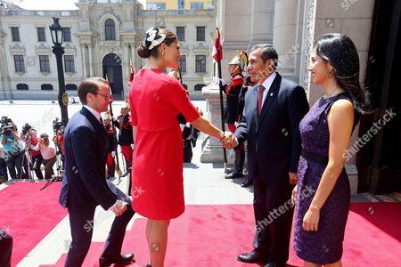 Lima Peruvian President Ollanta Humala, his wife Nadine Heredia, Sweden's Crown Princess Victoria and Prince Daniel