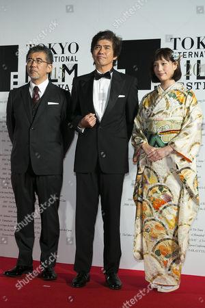 (L to R) Director Tetsuo Shinohara, actor Koichi Sato and actress Tsubasa Honda