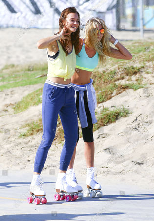 Editorial image of Elsa Hosk and Jac Jagaciak out and about, Los Angeles, America - 22 Oct 2015