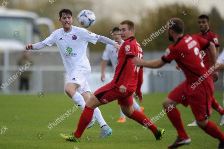 Josh Wilson of AFC Fylde makes a pass during AFC Fylde vs Barrow at Kellamergh Park