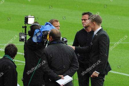 Newcastle United legend Steve Harper does a TV interview before kick off during Sunderland AFC vs Newcastle United at the Stadium Of Light