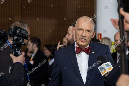 Stock Photo of Janusz Korwin-Mikke, leader of KORWiN party before the TV debate of all Polish party leaders in TVP studio