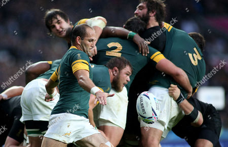 Stock Picture of Fourie du Preez of South Africa during the Rugby World Cup Semi Final match between South Africa and New Zealand at Twickenham, London on October 24th 2015