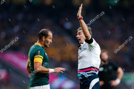 South Africa Scrum-Half Fourie du Preez (capt) talks to referee Jerome Garces