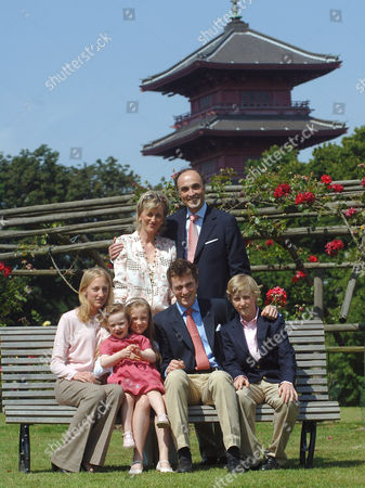 Princess Astrid, Prince Lorenz and their children (L to R) Princess Maria Laura , Princess Laetitia Maria , Princess Luisa Maria , Prince Amedeo and Prince Joachim
